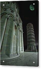 Ethereal Moonlight Scene Of Duomo Santa Acrylic Print by Carson Ganci