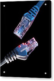 Ethernet Network Connectors Acrylic Print by Tek Image