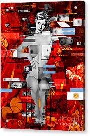 Eva Peron Nude En Rouge Acrylic Print