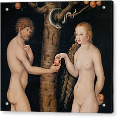 Eve Offering The Apple To Adam In The Garden Of Eden Acrylic Print by The Elder Lucas Cranach