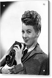 Evelyn Keyes, With A Rolex Camera, Ca Acrylic Print