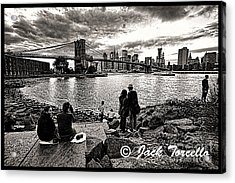 Acrylic Print featuring the photograph Evening At Brooklyn Bridge by Jack Torcello
