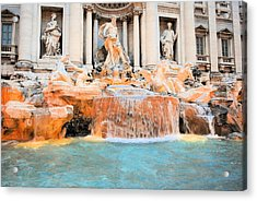 Evening At Trevi Fountain Acrylic Print by