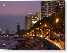 Evening Falls Over Water Front Buildings Acrylic Print by Austin Bush