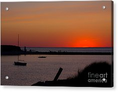 Evening Harbor Silhouette Acrylic Print by Douglas Armstrong
