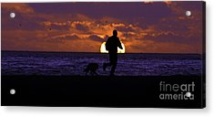 Acrylic Print featuring the photograph Evening Run On The Beach by Clayton Bruster