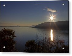 evening sun over the Lake Maggiore Acrylic Print by Joana Kruse