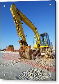 Excavator On The Beach Acrylic Print by Skip Nall