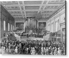 Exeter Hall Filled With A Large Crowd Acrylic Print by Everett
