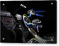 Explorers In Space Suits Exit An Acrylic Print by Walter Myers