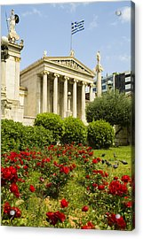 Exterior Of The Athens Academy, Greece Acrylic Print by Richard Nowitz
