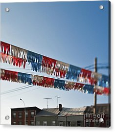 Exterior Red White And Blue Decorations Acrylic Print by Eddy Joaquim
