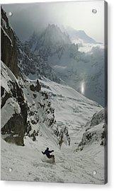 Extreme Skier Jean Franck Charlet Acrylic Print by Gordon Wiltsie