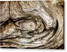 Eye Of Mystery Knot In Wood Acrylic Print