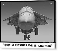 F-111e Aardvark Drawing Acrylic Print by Tim Mulina