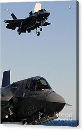 F-35b Lighnting II Variants Land Aboard Acrylic Print by Stocktrek Images