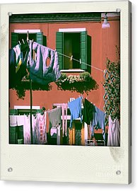Facades Of Burano. Venice Acrylic Print by Bernard Jaubert