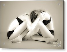 Face On Face Acrylic Print by Pierre-jean Grouille
