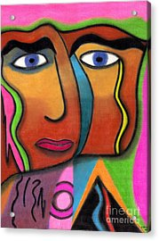 Face With Pink And Green Background Acrylic Print
