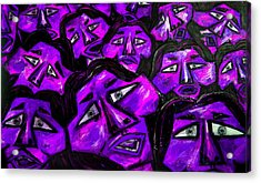 Faces - Purple Acrylic Print by Karen Elzinga