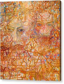 Faces On An Icon Acrylic Print by Pg Reproductions