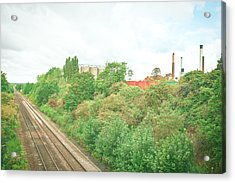 Factory And Trainlines Acrylic Print by Tom Gowanlock