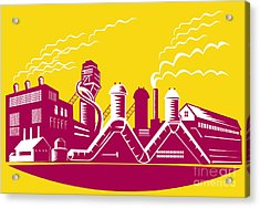 Factory Building Power Plant Retro Acrylic Print by Aloysius Patrimonio