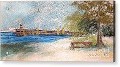 Fairport Harbor Pier Acrylic Print by Lisa Urankar