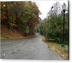 Fall Country Lane Acrylic Print by CGHepburn Scenic Photos