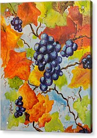 Fall Grapes Acrylic Print by Carole Powell