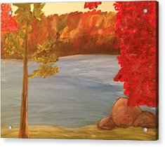 Acrylic Print featuring the painting Fall On River by Paula Brown