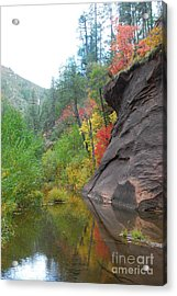 Fall Peeks From Behind The Rocks Acrylic Print by Heather Kirk