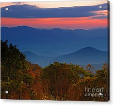 Fall Sunset Sky At Brasstown Bald Georgia Acrylic Print