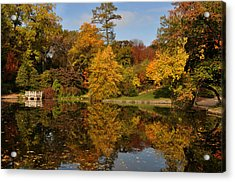 Fall Trees In Mirror Image Acrylic Print