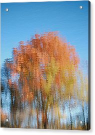 Acrylic Print featuring the photograph Fall Watercolor - Inverted by Mary McAvoy