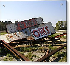 Fallen Sign Acrylic Print by Steve Sperry