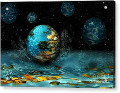 Acrylic Print featuring the digital art Falling Stars by Rosa Cobos