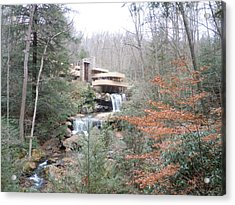 Acrylic Print featuring the painting Falling Waters Through The Trees by James Guentner