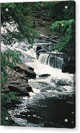 Falls On Presque Isle River Acrylic Print by C E McConnell