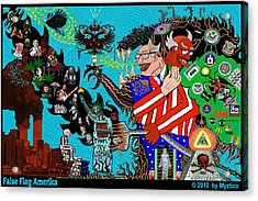 False Flag Amerika Acrylic Print by Myztico Campo