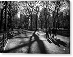 Family At Central Park In New York City Acrylic Print by Ilker Goksen