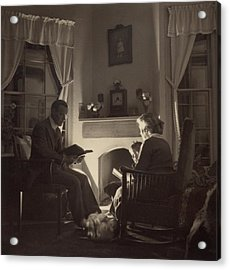 Family Reads At The Fireside. 1935 Acrylic Print by Everett