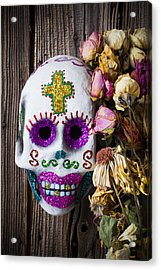 Fancy Skull And Dead Flowers Acrylic Print by Garry Gay