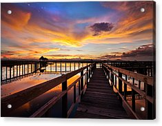 Fantastic Sky On Wood Bridge Acrylic Print by Arthit Somsakul