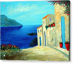 Acrylic Print featuring the painting Fantisy By The Sea by Larry Cirigliano