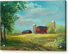 Acrylic Print featuring the painting Red Barns by Katalin Luczay