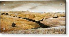 Farm On Hill - Tuscany Acrylic Print by Trevor Neal