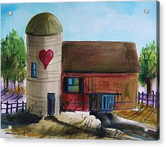 Farm With A Heart Acrylic Print by John Williams