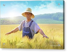 Farmer Checking Put His Crop Of Wheat Acrylic Print by Sandra Cunningham
