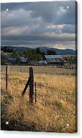 Farmland Fence Post Acrylic Print by Peter Tellone